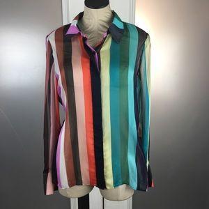 Diane Von Furstenberg Silk Blouse 6 Rainbow Stripe
